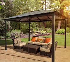 Bjs Patio Furniture Sets - exterior design vintage hardtop gazebo with brown curtains and