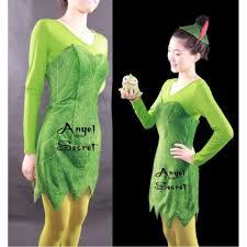 green tinkerbell flannel leaf print dress costume custom made