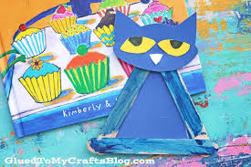 popsicle stick pete the cat kid craft glued to my crafts