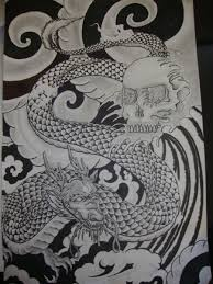 japanese dragon and skull tattoo design by magentamorbid666 on
