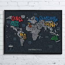 Map Letters Map Of The World With Letters Scratch Off Poster 80 X 60 Cm
