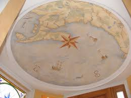 Map With Compass Mural Painting Of An Antique Map With Compass Rose On Domed