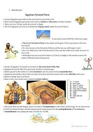 ancient egypt pyramids short text and speaking excercise worksheet