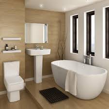 bliss modern double ended curved freestanding bath suite at