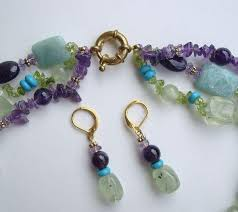 gemstone necklace sets images Gemstone bead necklace set 3 strand jadeite quartz amethyst jpg