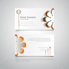 business card template with papercut flower u2014 stock vector