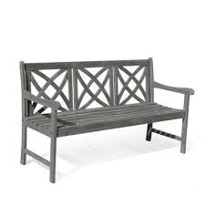 Bench Material Gray Outdoor Benches Patio Chairs The Home Depot