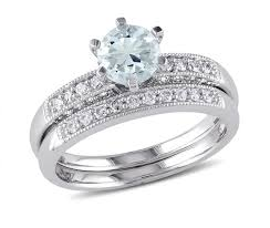 ben moss engagement sets 10k white gold 0 33ctw diamond aquamarine bridal set ben moss