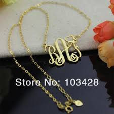 gold plated monogram necklace personalized name necklaces gold color monogram letter necklace