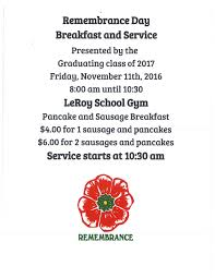 town of leroy remembrance day breakfast and service