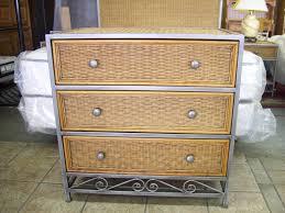 bedroom 3 drawer nightstand grey metal and rattan wicker bedroom
