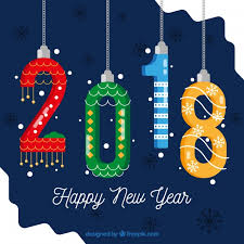 Happy New Year Decorations 2018 In The Shape Of New Year Decorations Vector Free Download