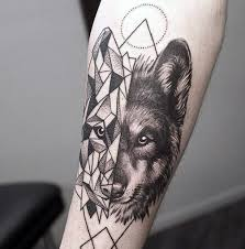 geometric wolf on forearm