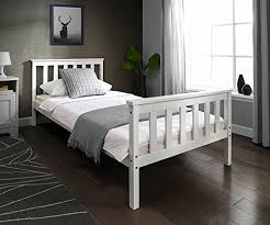 White Wood Bed Frame Single 3ft Wooden Bed Frame White Solid European Wood For