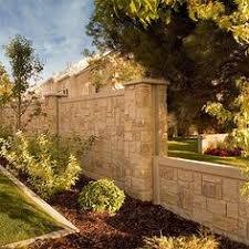 Decorative Concrete Pillars Privacy Fencing Concrete Walls With Realistic Stone Texture And