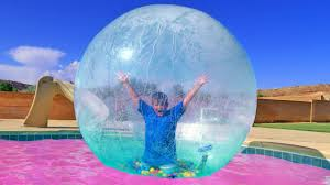 Inside Swimming Pool by Insane Trampoline Tricks Stuck Inside Giant Bubble Ball Into