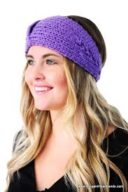 winter headbands ear warmer headband in purple winter headband knit headband