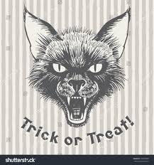 scary halloween lettering trick treat vintage halloween illustration poster stock vector
