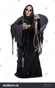 halloween costumes with white background grim reaper offers executioner noose isolated stock photo