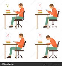 posture bureau position assise correcte et incorrecte lecture image vectorielle
