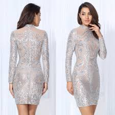 high neck dress silver embellished high neck bodycon dress mini legnth dresses