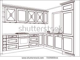 3d vector sketch modern kitchen design stock vector 720377341