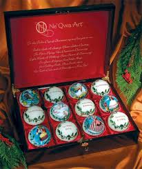 12 days of christmas hand painted glass ornaments boxed set
