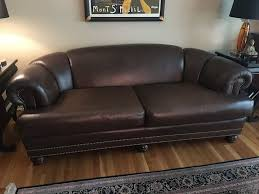 Leather Sofa Discoloration Wonderful Chocolate Brown Leather Sofa W Nailheads 4 17