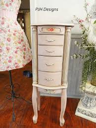 Shabby Chic Jewelry Armoire by Pjh Designs Hand Painted Antique Furniture Shabby Chic Pink