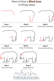 how to draw a black bear