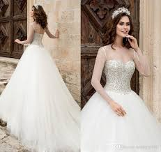 princess ball gown 2018 crystal wedding dresses pure ivory long