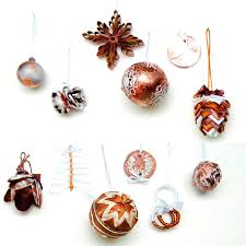 set of 12 different modern copper tree ornaments serro store