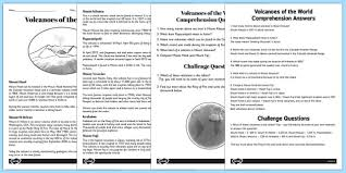 world volcanoes reading comprehension activity volcano