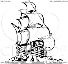 clipart black and white pirate ship 3 royalty free vector