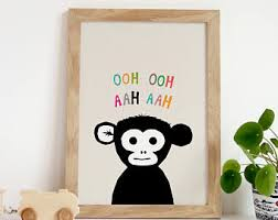 Monkey Rug For Nursery Monkey Art Etsy