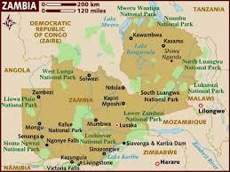 map of zambia map of zambia