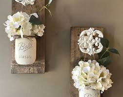 Wall Sconces For Flowers Mason Jar Wall Decor Etsy