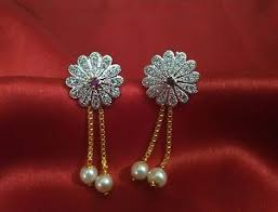 latkan earrings american diamond gold plated flower deaign earrings with pearl