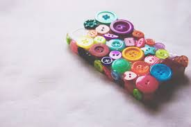 diy button covered phone casemade peachy