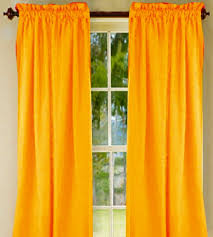solid yellow orange long cotton curtains