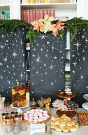 sparkly holiday buffet with a starry backdrop little green notebook