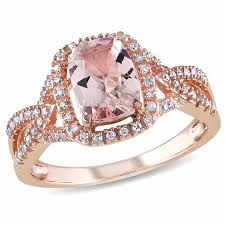 gemstone rings gold images Cushion cut morganite and 1 6 ct t w diamond ring in 10k rose jpg