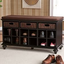 furniture brown wooden bench with shoe rack and cream carpet on