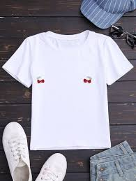 design t shirt program free cherry embroidered short sleeve t shirt white tees s zaful