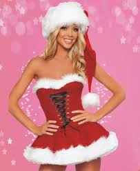 anime role playing fun christmas dress chest wrapped christmas red