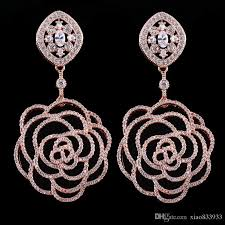 not on the high earrings woman aaa zircon earrings europe and the big hollow flower high