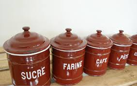 vintage european enamel kitchen canister set