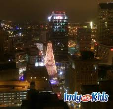 view the circle of lights and downtown from high above indy with