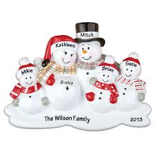 expecting snowman family with three children personalized