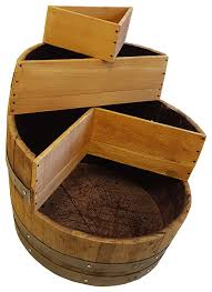 tiered barrel planter natural finish rustic outdoor pots and